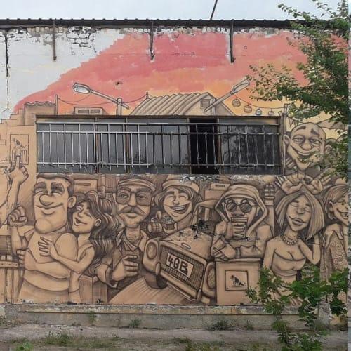 Street Murals by Lion Fleischmann seen at 4GB location, T'bilisi - Sexy Boys & Girls