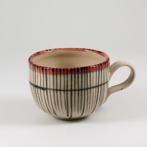 Cups by Kyra Mihailovic Ceramics seen at Private Residence, London - Stoneware coffee set in 'Reeds' design