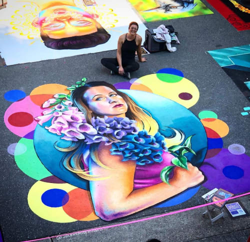 Street Murals by Jolene Rose Russell seen at Redmond Town Center, Redmond - Pacific Northwest Chalk Fest Mural