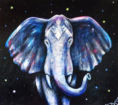 "Paintings by Natashski seen at Private Residence, Toronto - ""Blue Elephant"" acrylic paint on canvas."