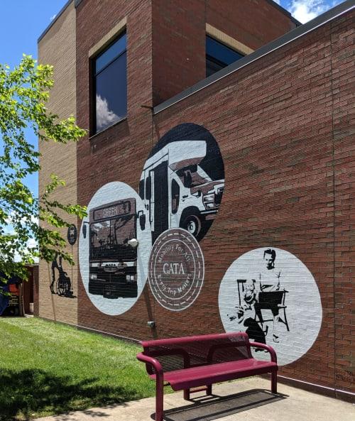 Murals by Nicole Renee Ryan seen at 214 Pine St, Meadville - CATA Bus stop mural