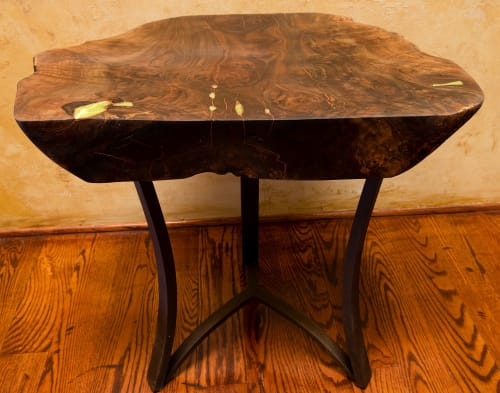 Tables by Natural Wood Edge Creations by Rick Griggs seen at Private Residence, Lincoln - Walnut Burl End Table with Green Serpentine Inlay