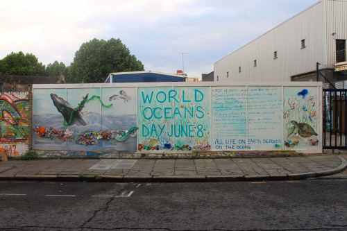 Murals by Michelle Meola seen at Hackney Wick, London - World Ocean's Day Mural