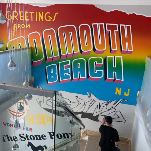 Murals by Jay Mack seen at Private Residence - Greetings From Monmouth Beach