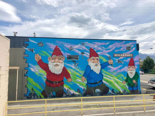 Street Murals by Josh Scheuerman seen at Sugar Post Metal, Salt Lake City - Godzilla Gnomes