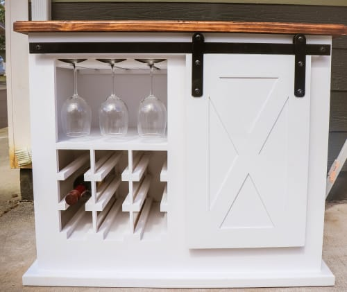 Farmhouse bar cabinet | Furniture by Rivy's Woodworks