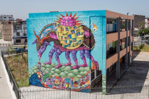 Street Murals by Danaé Brissonnet seen at Rabat, Rabat - Exodus