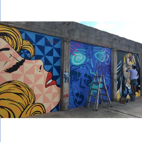 Murals by FeeBee Art seen at Essex Modern City, San Antonio - Essex Pop Art Girl