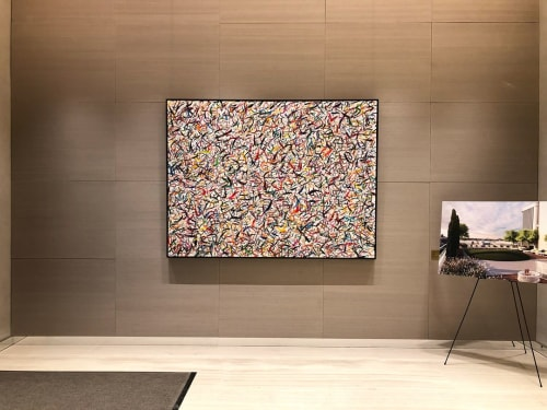 Paintings by Phillip Michaels seen at Oskar - Luxury Apartments, New York - Happy 8
