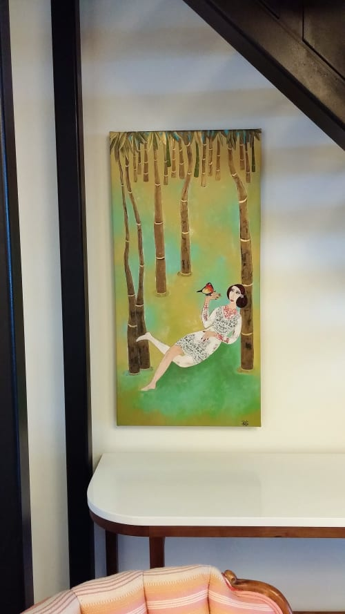 """Paintings by Diana Rosa seen at Private Residence, Toronto - Reclining in the forest, 40"""" x 20"""""""