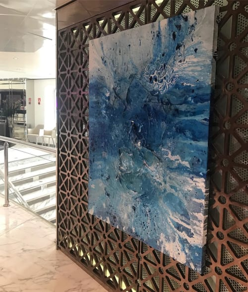 Paintings by Maiju Tirri Art seen at Sunborn Gibraltar - Blue Abstract Painting