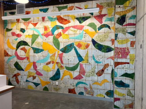"""Murals by Brad Ellis - Artist seen at Facebook, Austin - """"Soar"""": commissioned by Facebook, two walls 15' x 20' each"""