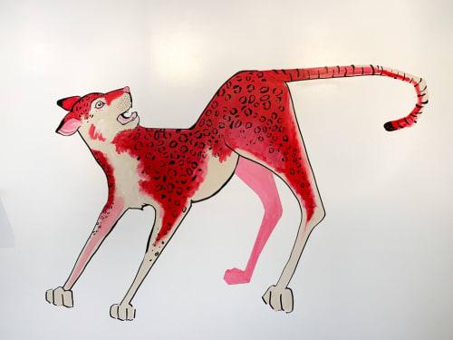 Murals by Jillian Kay FitzMaurice seen at Base Coat Nail Salon Rino Arts District, Denver - Hot Red Kitty