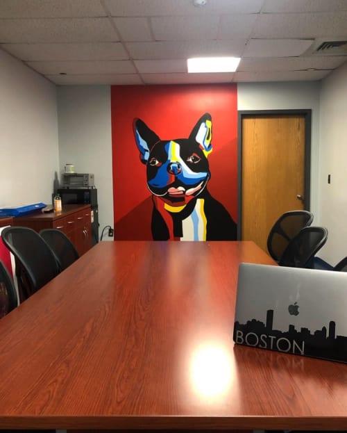 Murals by Big Sam's Paints seen at Boston University, Boston - Rhett the Terrier