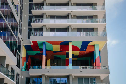 Murals by Eltono seen at X Miami Apartments, Miami - X Miami Mural