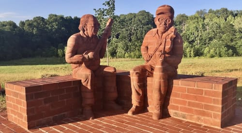 "Public Sculptures by Brad Spencer seen at Mebane Community Park, Mebane - ""Knee to Knee"""
