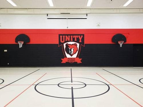 Murals by Alixandra Jade (Alixandra Jade Art & Design Co.) seen at Unity Public School, Unity - Unity Public School - Gym Feature Wall
