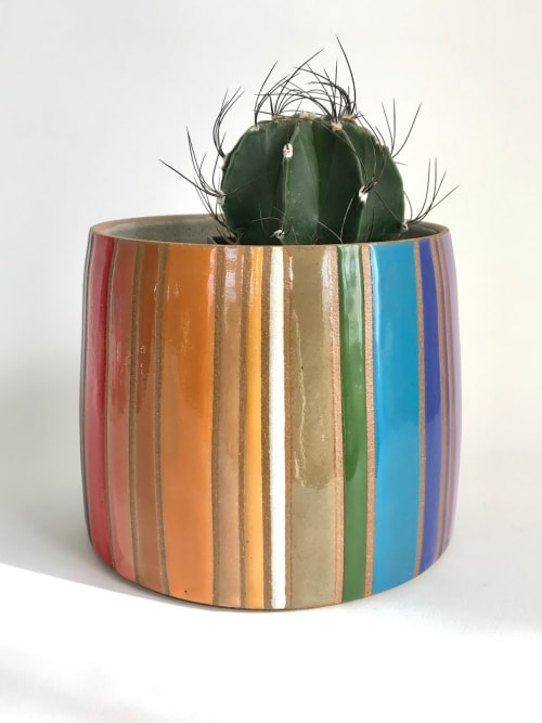 Vases & Vessels by Christine Tenenholtz Ceramics seen at Private Residence - Rainbow Stripes planter