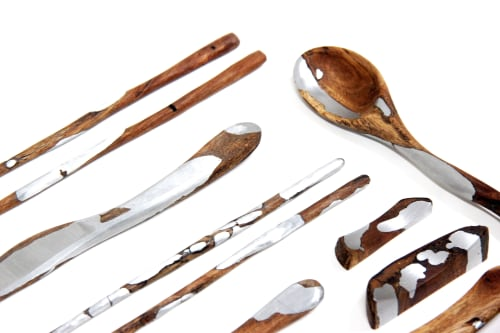 Idiytip Ensemble de vaisselle portative de style japonais baguettes de cuill/ère en bois de voyage # 2 avec sac en tissu