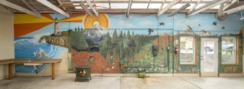 Murals by FullyartbySophie seen at Tigard, Tigard - Panoramic landscape sea, forest, volcano