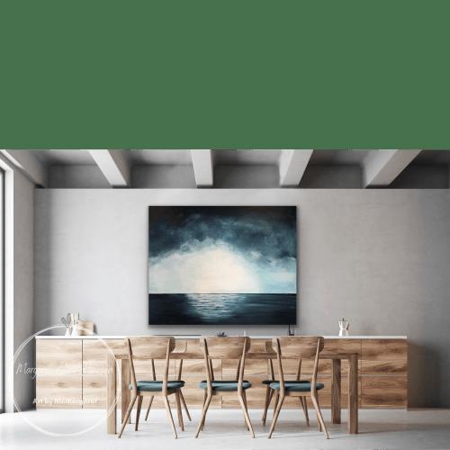 Paintings by Margaret Alice Høiesen seen at Creator's Studio, Stavanger - Blue sky horizon