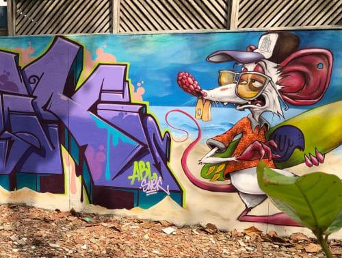 Street Murals by snek arte seen at Pecado Beach Tennis, Cavaleiros - Rj-Macae Mural