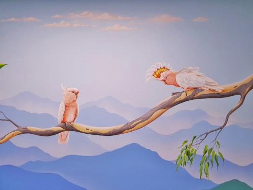 """Murals by Elena Kolotusha seen at 39-41 Isabella St, Moorabbin - """"Blue Mountains"""" mural"""