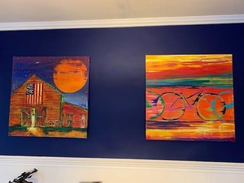 Paintings by Ben Bonart seen at Upper Montclair, Montclair - NIGHT BARN and CYCLELOGIC