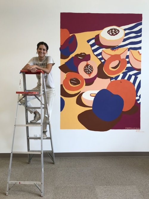 Murals by Camille Shu seen at The Riveter: Portland, Portland - Stone Fruit Mural