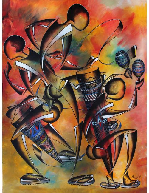 Paintings by Mwenye painter seen at Creator's Studio, Worcester - Mdundiko