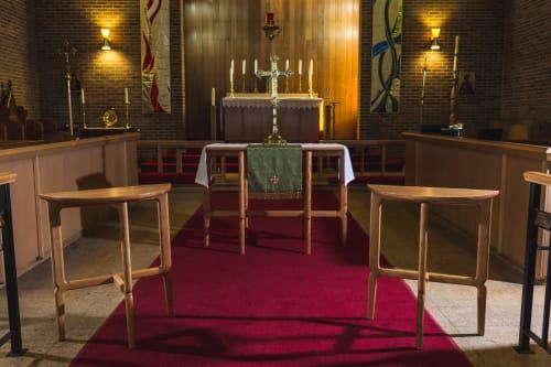 Tables by Kenton Jeske Woodworker seen at St. Faith's Anglican Church, Edmonton - Anglican Parish of St. Faith