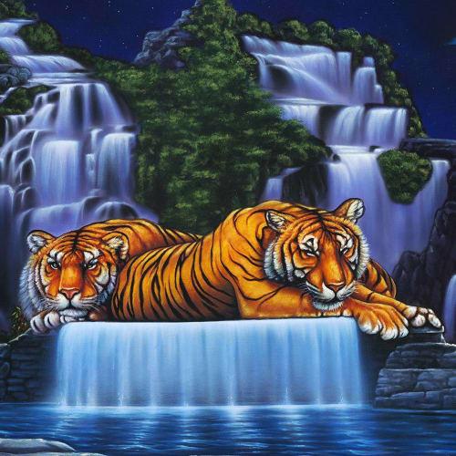 "Paintings by Craig Stanley seen at Private Residence, Atlanta - ""Tigers Serinity"""