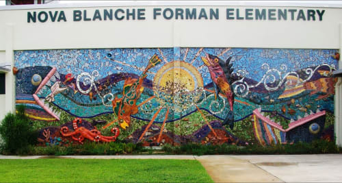 Public Mosaics by Beth Ravitz seen at Nova Blanche Forman Elementary School, Fort Lauderdale - Because the Earth is 70% Water