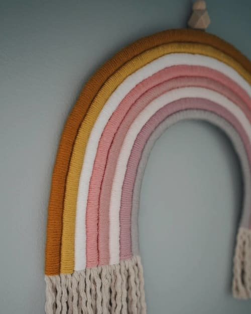 Wall Hangings by Woven in Color Designs seen at Private Residence, Raleigh - Large Customizable Rainbow