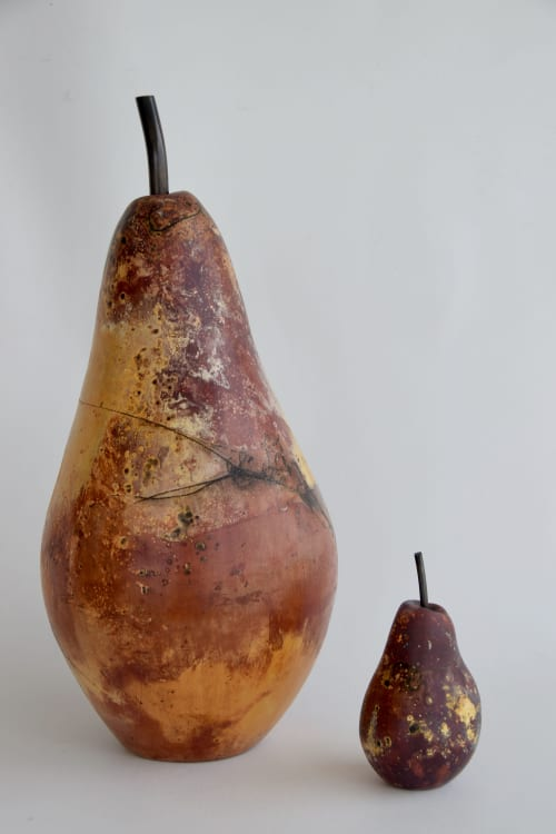 Ceramic Saggar fired Pears | Sculptures by Shweta Mansingka Ceramics