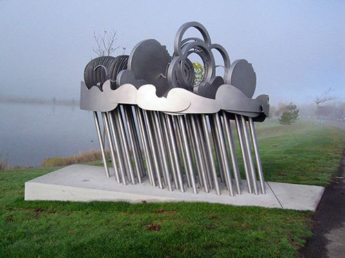Public Sculptures by Gloria Bornstein seen at Lake Tye - Storm Patterns