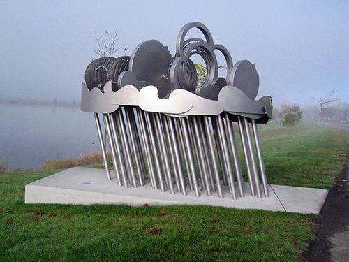Public Sculptures by Gloria Bornstein seen at Lake Tye - Storm Patterns