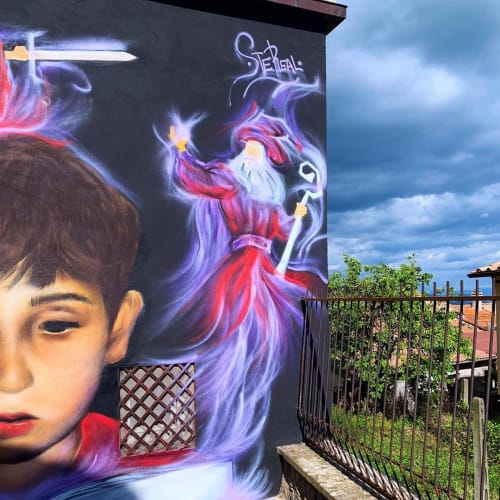 """Murals by SteReal seen at Sant'Angelo """"Il Paese Delle Fiabe"""", Sant'Angelo - Dreams are desires"""