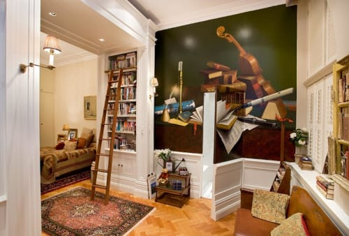 Murals by Guy Hawson seen at Private Residence, Sydney - Classic still-life with musical instruments