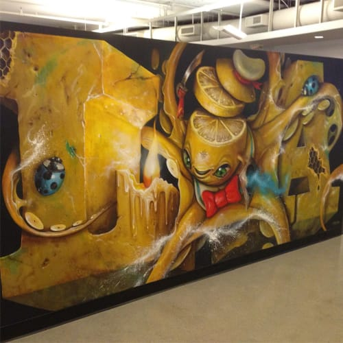 "Murals by Greg ""Craola"" Simkins seen at Long Beach Museum of Art, Long Beach - Indoor Mural"