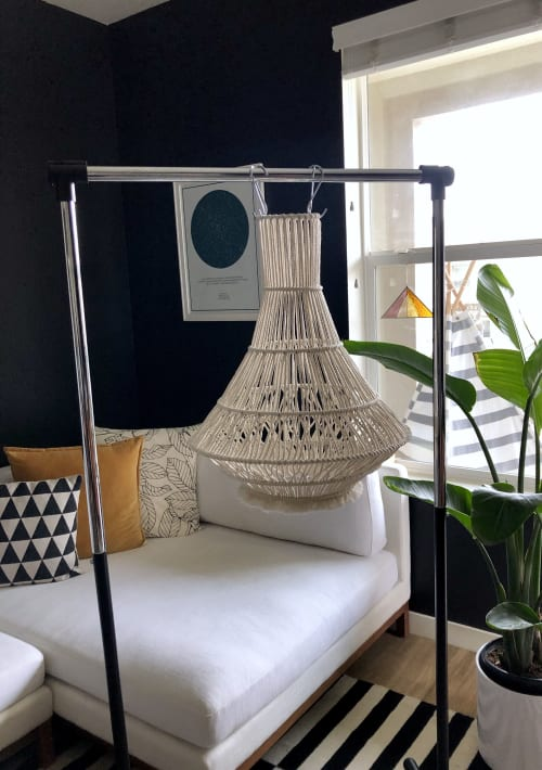 Chandeliers by Knots to Mention seen at Private Residence, Ventura - I dream of Jeannie macrame chandelier