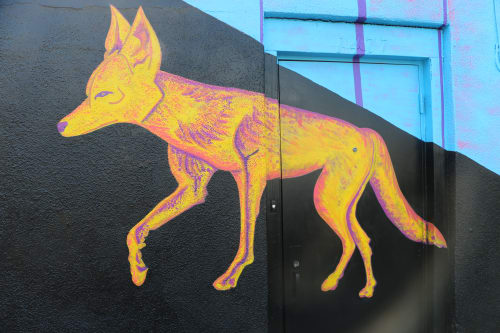 Murals by Cecilia Paints seen at Little Joy Cocktails, Los Angeles - 'Coyote Fever'