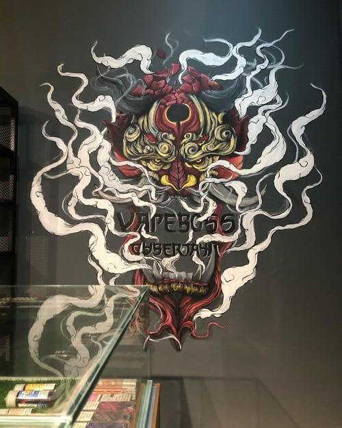 Murals by Lakar by Mekar seen at VAPEBOSS CYBERJAYA, Cyberjaya - Oni Samurai Mask