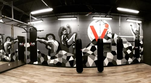 Murals by Leslie Phelan Mural Art + Design seen at Vive Fitness 24/7 Truscott Mississauga, Mississauga - Boxing Studio Mural at Vive Fitness