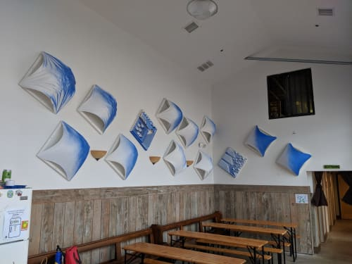Interior Design by Anneloes Marina seen at Turtle Swamp Brewing, Boston - Blue & White Wall Sails