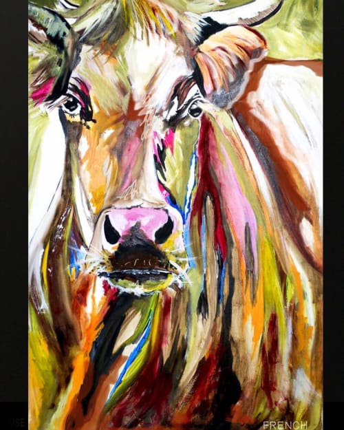 Paintings by Joy French seen at Private Residence, Brisbane - Cow
