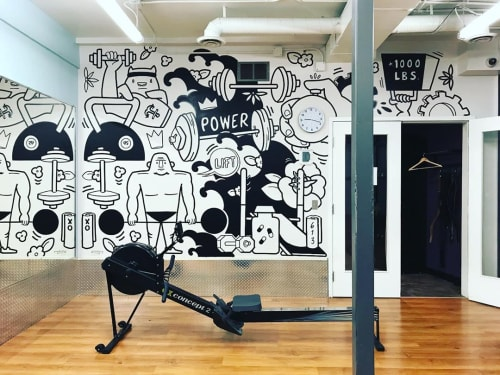 Murals by Robbie Lariviere seen at Anytime Fitness, Ottawa - Indoor mural