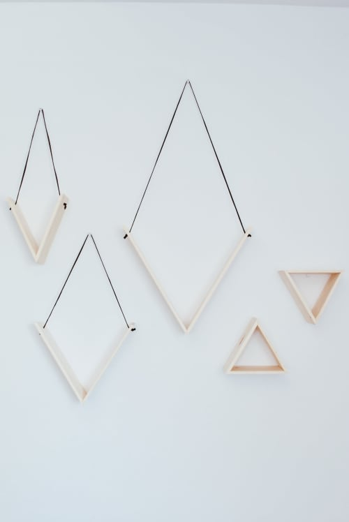 Wall Hangings by Mezcla Designs seen at Private Residence, Lemon Grove - Wood & Leather V Shelves