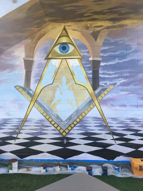 Murals by Murals by Georgeta (Fondos) seen at Private Residence, Deerfield Beach - Illuminati – Masonic Symbolism Mural