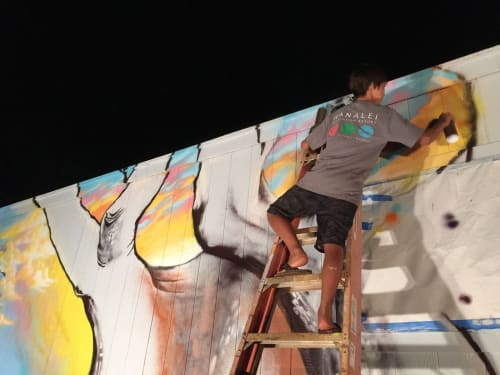 """Murals by Mele Murals seen at 4333 Kukuihale Rd, Anahola - """"O ka mihi ka la'au mua a he Piko hou"""" (New Beginnings Start with Foregiveness); Aloha 'Āina"""